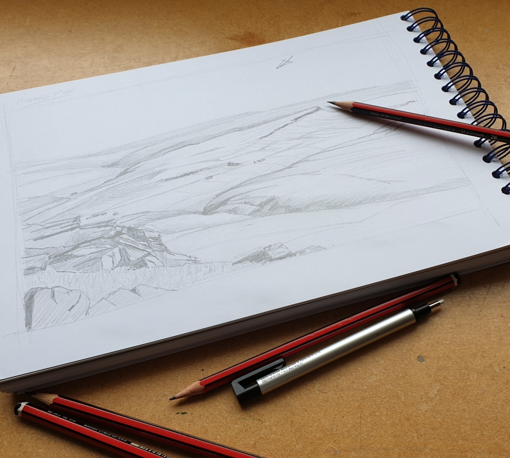 Sketching in the studio when planning a painting. Jo Sykes Art