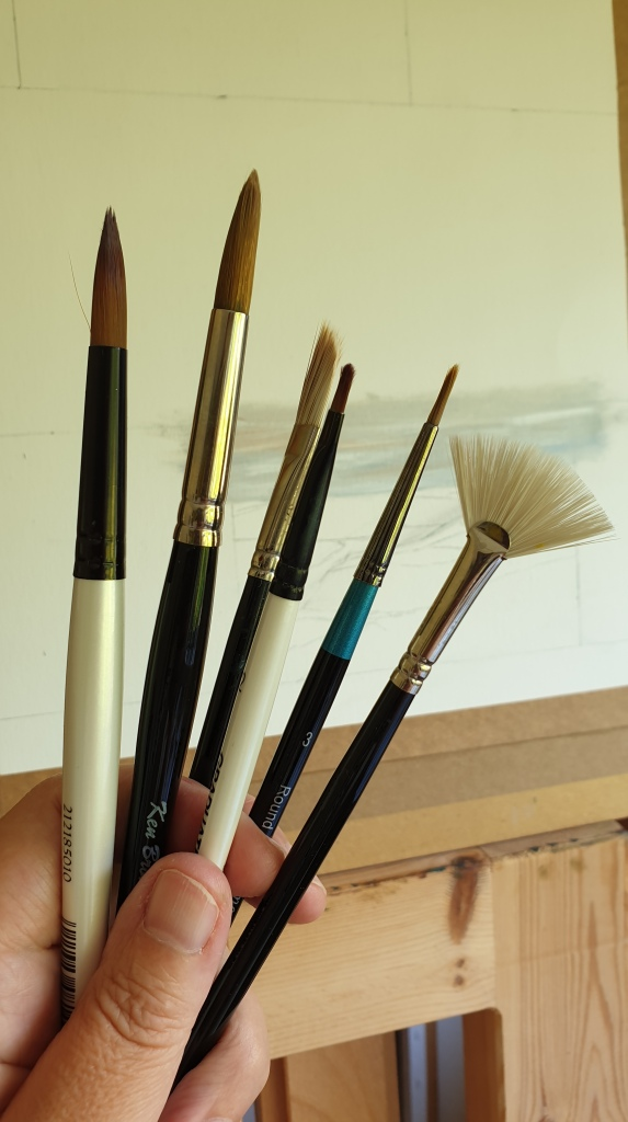 Some of the brushes I use when painting with oils on paper. Jo Sykes Art.